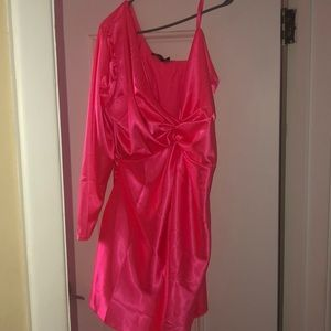 Pink satin one-shoulder dress